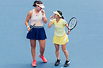 Shuko Aoyama of Japan (R) and Lidziya Marozava of Belarus (L) talk during during the doubles final match against Zhang Shuai of China and Samantha Stosur of Australia at the WTA Prudential Hong Kong Tennis Open 2018 at the Victoria Park Tennis Stadium on 14 October 2018 in Hong Kong, Hong Kong. Photo by Yu Chun Christopher Wong / Power Sport Images