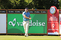 Ryan Fox (NZL) tees off the 9th tee during Saturday's Round 3 of the 2018 Omega European Masters, held at the Golf Club Crans-Sur-Sierre, Crans Montana, Switzerland. 8th September 2018.<br /> Picture: Eoin Clarke | Golffile<br /> <br /> <br /> All photos usage must carry mandatory copyright credit (&copy; Golffile | Eoin Clarke)