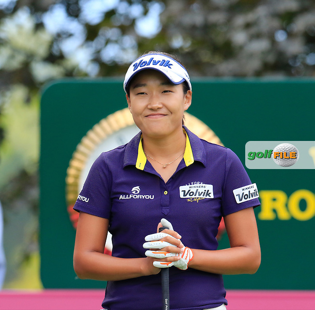 Ilhee Lee (KOR) waits on the 13th tee during Saturday's Round 3 of the LPGA 2015 Evian Championship, held at the Evian Resort Golf Club, Evian les Bains, France. 12th September 2015.<br /> Picture Eoin Clarke | Golffile