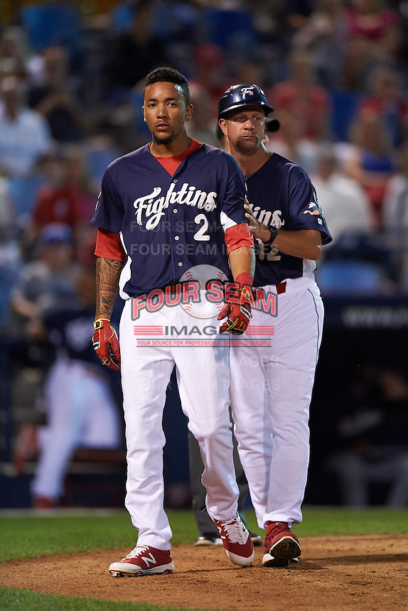 Reading Fightin Phils shortstop J.P. Crawford (2) walks off the field with coach Mickey Morandini (12) after being ejected for arguing a strike three call during a game against the New Britain Rock Cats on August 7, 2015 at FirstEnergy Stadium in Reading, Pennsylvania.  Reading defeated New Britain 4-3 in ten innings.  (Mike Janes/Four Seam Images)