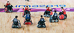 Lima, Peru -  23/August/2019 -  Defence helped win the game as Canada takes on Argentina in wheelchair rugby at the Parapan Am Games in Lima, Peru. Photo: Dave Holland/Canadian Paralympic Committee.