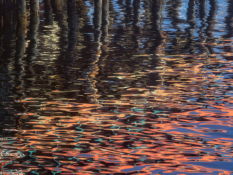 Abstract reflection of buildings.  Fisherman's Warf. Monterey, California