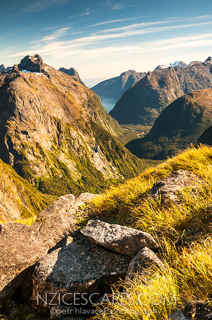 Stunning alpine views from Gertrude Saddle with Cleddau River valley and Milford Sound in distance, Fiordland NP, Southland, UNESCO World Heritage Area, New Zealand, NZ