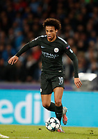 Football Soccer: UEFA Champions League Napoli vs Mabchester City San Paolo stadium Naples, Italy, November 1, 2017. <br /> Manchester City's Leroy San&eacute; in action with during the Uefa Champions League football soccer match between Napoli and Manchester City at San Paolo stadium, November 1, 2017.<br /> UPDATE IMAGES PRESS/Isabella Bonotto
