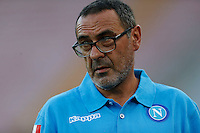 Napoli's coach  Maurizio Sarri during the Europa  League Group D soccer match against  Brugge at the San Paolo  Stadium in Naples September 17, 2015