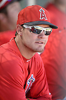 Los Angels Angels of Anaheim second baseman Kirby Pellant (6) in the dugout before an instructional league game against the Colorado Rockies on September 30, 2013 at Tempe Diablo Stadium Complex in Tempe, Arizona.  (Mike Janes/Four Seam Images)