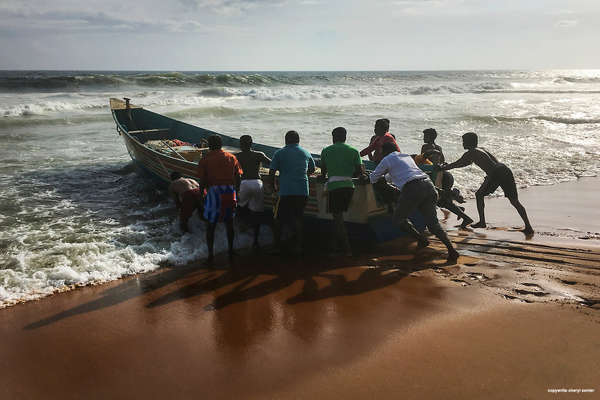 Local fishermen get help from beach goers pushing the boat into the water at Sanghumugham Beach in Thiruvananthapuram, Kerala, India,  June 16, 2017 (Photo by Cheryl Senter)
