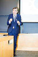 "Philippe Douste-Blazy delivers a short lecture to a doctoral seminar called ""Innovation in Global Health Systems"" during a visit to Harvard University's T. H. Chan School of Public Health in Boston, Massachusetts, USA. The lecture was the final part of his visit. The visit is part of his campaign to become Director General of the World Health Organization. During the visit, he met with professors, students, and visiting scholars, including former Ministers of Health from England and Brazil. Doutse-Blazy is Under-Secretary-General and Special Adviser on Innovative Financing for Development in the United Nations and chairman of UNITAID. He served as Minister of Health, Minister of Culture, and Foreign Minister in the French government and was also mayor of Lourdes and Toulouse."