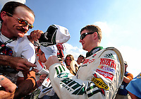 Oct 4, 2008; Talladega, AL, USA; NASCAR Sprint Cup Series driver Dale Earnhardt Jr during qualifying for the Amp Energy 500 at the Talladega Superspeedway. Mandatory Credit: Mark J. Rebilas-