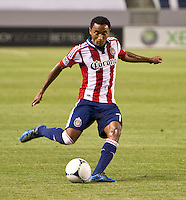 CARSON, CA - April 21, 2012: Chivas USA defender James Riley (7) during the Chivas USA vs Philadelphia Union match at the Home Depot Center in Carson, California. Final score Philadelphia Union 1, Chivas USA 0.