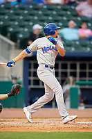 Midland RockHounds first baseman Viosergy Rosa (34) follows through on a swing during a game against the Northwest Arkansas Naturals on May 27, 2017 at Arvest Ballpark in Springdale, Arkansas.  NW Arkansas defeated Midland 3-2.  (Mike Janes/Four Seam Images)