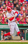 4 April 2014: Washington Nationals third baseman Ryan Zimmerman in action against the Atlanta Braves during the Nationals Home Opening Game at Nationals Park in Washington, DC. The Braves edged out the Nationals 2-1 in their first meeting of the 2014 MLB season. Mandatory Credit: Ed Wolfstein Photo *** RAW (NEF) Image File Available ***