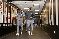 Omar Bogle (left) and Callum Paterson (right) of Cardiff City arrive for the Sky Bet Championship match between Swansea City and Cardiff City at the Liberty Stadium in Swansea, Wales, UK. Sunday 27 October 2019