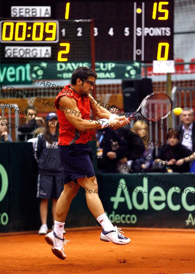 Tennis, Davis Cup, season 2006/07.Serbia Vs. Georgia (Gruzija).Janko Tipsarevic.Beograd, 06.04.2007..foto: Srdjan Stevanovic