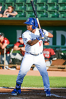 Willie Calhoun (17) of the Ogden Raptors at bat against the Idaho Falls Chukars in Pioneer League action at Lindquist Field on June 23, 2015 in Ogden, Utah. Idaho Falls beat the Raptors 9-6.(Stephen Smith/Four Seam Images)