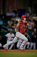 Peoria Chiefs third baseman Nolan Gorman (4) hits a foul ball during a game against the Bowling Green Hot Rods on September 15, 2018 at Bowling Green Ballpark in Bowling Green, Kentucky.  Bowling Green defeated Peoria 6-1.  (Mike Janes/Four Seam Images)