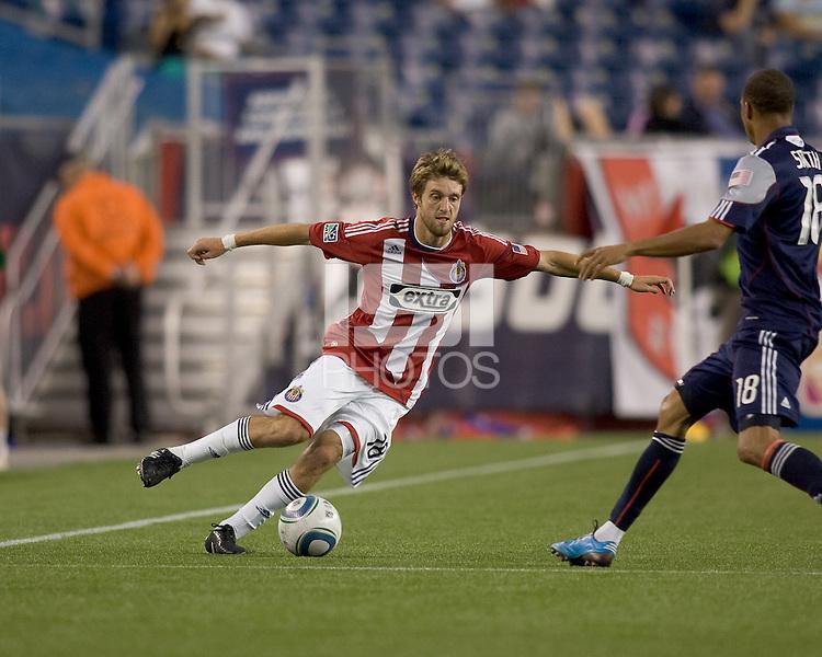 Goal scorer Chivas USA midfielder Blair Gavin (18) fakes. Chivas USA defeated the New England Revolution, 4-0, at Gillette Stadium on May 5, 2010.