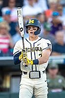 Michigan Wolverines shortstop Jack Blomgren (2) at the plate against the Vanderbilt Commodores during Game 1 of the NCAA College World Series Finals on June 24, 2019 at TD Ameritrade Park in Omaha, Nebraska. Michigan defeated Vanderbilt 7-4. (Andrew Woolley/Four Seam Images)