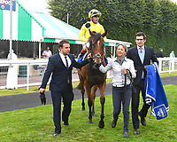 Winner of The Shadwell Dick Poole Fillies' Stakes     Yourtimeisnow ridden by Andrea Atzeni and trained by Roger Varian is led into the winners enclosure during the Bathwick Tyres & EBF Race Day at Salisbury Racecourse on 6th September 2018
