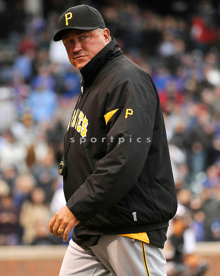 CLINT HURDLE, of the Pittsburgh Pirates, in actions during the Pirates game against the Chicago Cubs at Wrigley FIeld on April 3, 2011.  The Pirates won the game beating the Cubs 5-4.