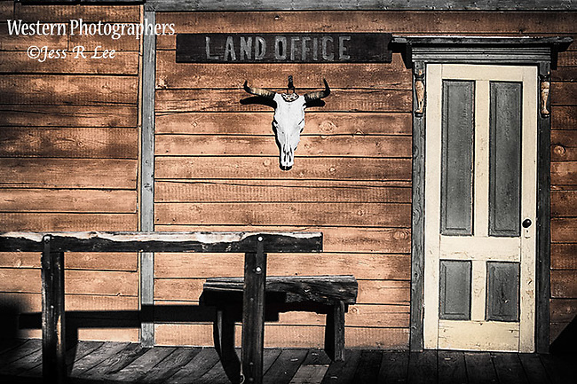 A photo of a land office in a AZ ghost town.