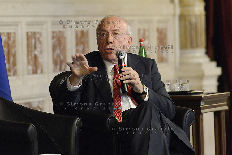 Roma, 30 Giugno 2014<br /> Montecitorio<br /> Convegno su Economia digitale e industria culturale con Fedele Confalonieri presidente Mediaset nella foto, e Carlo De Benedetti presidente del Gruppo Espresso.<br /> Rome, June 30, 2014 <br /> Montecitorio<br /> Conference on Digital Economy and culture industry with Mediaset chairman Fedele Confalonieri in the picture, and Carlo De Benedetti, chairman of the Espresso Group
