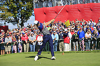 Jordan Spieth US Team tees off the 11th tee during Thursday's Practice Day of the 41st RyderCup held at Hazeltine National Golf Club, Chaska, Minnesota, USA. 29th September 2016.<br /> Picture: Eoin Clarke | Golffile<br /> <br /> <br /> All photos usage must carry mandatory copyright credit (&copy; Golffile | Eoin Clarke)