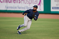 Mobile BayBears Jo Adell (25) makes a play on a hit during a Southern League game against the Mobile BayBears on July 25, 2019 at Hank Aaron Stadium in Pensacola, Florida.  Pensacola defeated Mobile 2-1 in the first game of a doubleheader.  (Mike Janes/Four Seam Images)