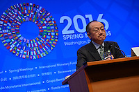 Washington, DC - April 14, 2016: Jim Yong Kim, President of the World Bank Group, speaks to members of the media during a press availability at the IMF headquarters in the District of Columbia, April 14, 2016.  (Photo by Don Baxter/Media Images International)