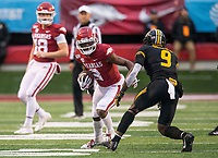 Hawgs Illustrated/BEN GOFF <br /> Mike Woods, Arkansas wide receiver, turns up field after a catch in the fourth quarter vs Missouri Saturday, Nov. 29, 2019, at War Memorial Stadium in Little Rock.
