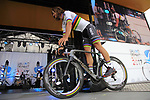 World Champion Peter Sagan (SVK) Bora-Hansgrohe team on stage at the Team Presentation in Burgplatz Dusseldorf before the 104th edition of the Tour de France 2017, Dusseldorf, Germany. 29th June 2017.<br /> Picture: Eoin Clarke | Cyclefile<br /> <br /> <br /> All photos usage must carry mandatory copyright credit (&copy; Cyclefile | Eoin Clarke)