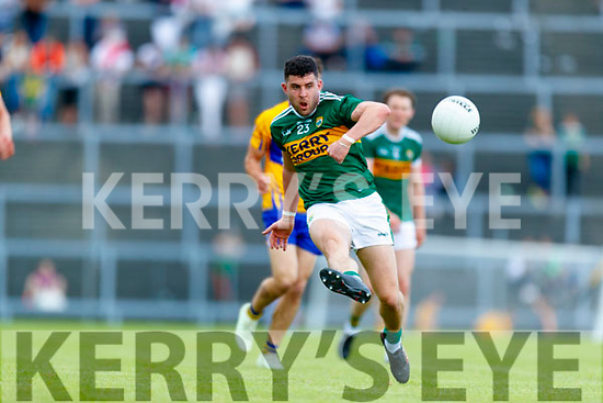 Mikey Geaney Kerry in action against  Clare during the Munster GAA Football Senior Championship semi-final match between Kerry and Clare at Fitzgerald Stadium in Killarney on Sunday.