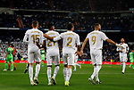 Real Madrid CF's Fede Valverde, Real Madrid CF's Rodrygo Goes, Real Madrid CF's Dani Carvajal and Real Madrid CF's Karim Benzema during La Liga match. Oct 30, 2019. (ALTERPHOTOS/Manu R.B.)