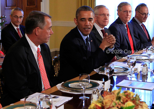 United States President Barack Obama meets with bipartisian congressional leadership in the Old Family Dining Room of the White House in Washington, D.C. on Friday, November 7, 2014. From left to right:  Speaker of the U.S. House John Boehner (Republican of Ohio), President Obama, current U.S. Senate Majority Leader Harry Reid (Democrat of Nevada), future U.S. Senate Majority Leader Mitch McConnell (Republican of Kentucky), and U.S. Senator Charles Schumer (Democrat of New York).  Also visible at left is John Podesta, Counselor to the President.<br /> Credit: Dennis Brack / Pool via CNP