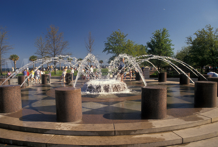 Charleston, South Carolina, SC, Fountain at Waterfront Park along Charleston Bay in Charleston in the spring.