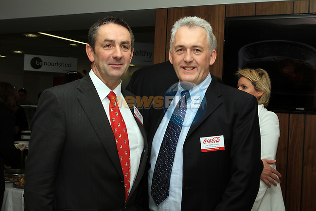 Richie Culhane with CPS Ireland Supply Chain Manager, Gerry Leydon at the Official Opening of Coca Cola Global Business Services Finance Operation for Europe and Eurasia in Southgate Shopping Centre 28/10/11..(Photo credit should read Jenny Matthews www.newsfile.ie)....This Picture has been sent you under the conditions enclosed by:.Newsfile Ltd..The Studio,.Millmount Abbey,.Drogheda,.Co Meath..Ireland..Tel: +353(0)41-9871240.Fax: +353(0)41-9871260.GSM: +353(0)86-2500958.email: pictures@newsfile.ie.www.newsfile.ie.