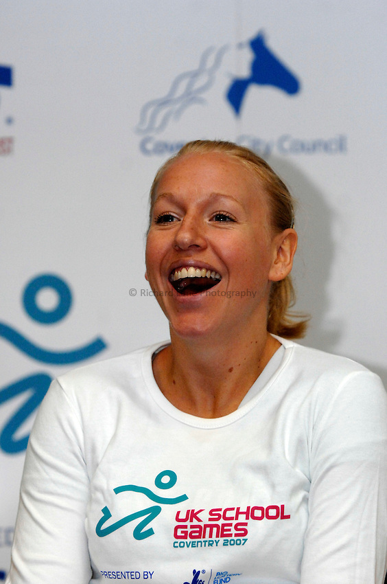 Photo: Richard Lane/Richard Lane Photography..UK Schools Games Press Conference, Coventry. 25/07/2007. .Great Britain Olympic medalist, Gail Emms.