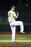 Wake Forest Demon Deacons relief pitcher Carter Bach (18) in action against the Davidson Wildcats at David F. Couch Ballpark on February 28, 2017 in Winston-Salem, North Carolina.  The Demon Deacons defeated the Wildcats 13-5.  (Brian Westerholt/Four Seam Images)