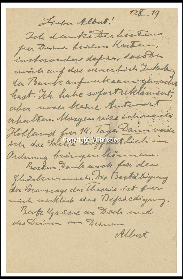 BNPS.co.uk (01202 558833)<br /> Pic: Christies/BNPS<br /> <br /> A letter from Einstein to his friend Albert Karr thanking him for his congratulations on the success of the 1919 solar eclipse experiment sold for a staggering £74,500.<br /> <br /> A 116-year-old pocket watch owned by Albert Einstein before he became a renowned genius has sold for more than 13 times its estimate.<br /> <br /> The Swiss timepiece had an estimate of £20,000 but has sold at Christie's in London for a whopping £266,500.<br /> <br /> It is one of three watches known to have been owned by Einstein and passed by direct descent from the theoretical physicist to the seller.