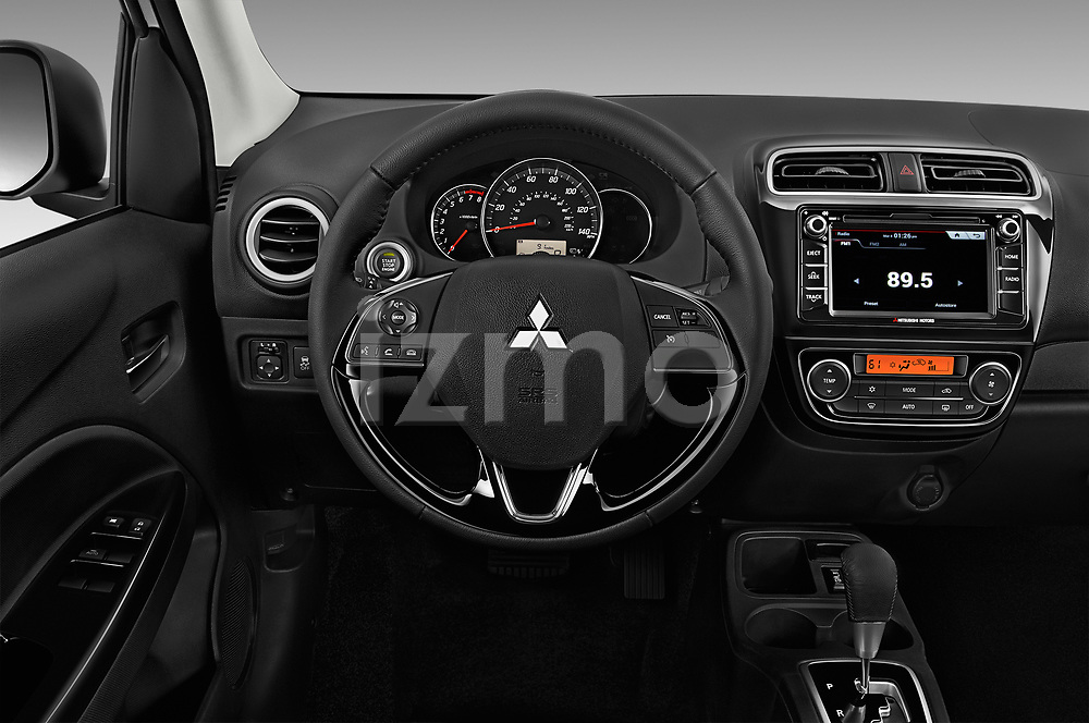 Car pictures of steering wheel view of a 2018 Mitsubishi Mirage-G4 SE-CVT 4 Door Sedan Steering Wheel