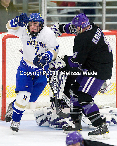 Patrick Curtis (Hamilton - 7), Mike Kavanagh (Curry - 4) - The visiting Hamilton College Continentals defeated the Curry College Colonels 6-5 in overtime on Saturday, December 31, 2011, at Max Ulin Rink in Milton, Massachusetts.