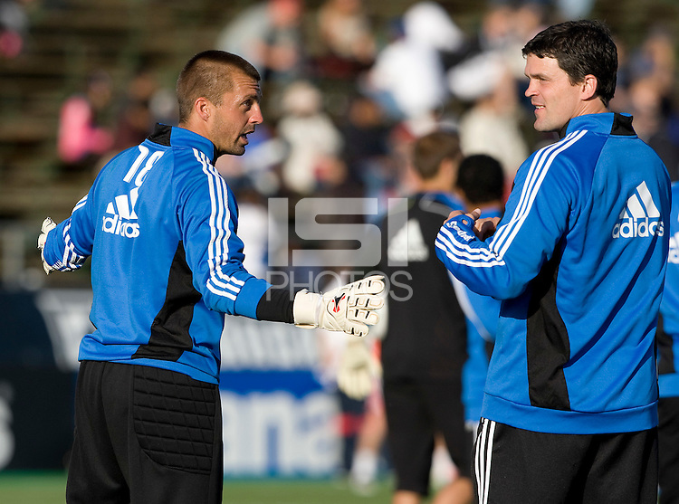 Jon Busch of Earthquakes talks with the assistant coach Mark Watson during practice before the game against the Red Bulls at Buck Shaw Stadium in Santa Clara, California.  San Jose Earthquakes defeated New York Red Bulls, 4-0.