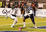 November 12, 2011:Nevada's #20 Duke Williams goes after a Hawaii fumble in the endzone during a WAC league game played at Mackay Stadium in Reno, Nevada.