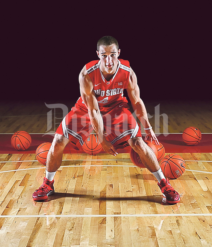 Ohio State University guard Aaron Craft gears up for his final season at OSU Nov. 2013. College Preview special section cover. (Columbus Dispatch photo by Fred Squillante)