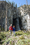 WY: Wyoming, Yellowstone National Park.In Midway Geyser Basin.Couple hiking at Fairy Falls, Model Released.Photo #: yellow1494.Photo copyright Lee Foster, 510/549-2202, lee@fostertravel.com, www.fostertravel.com..