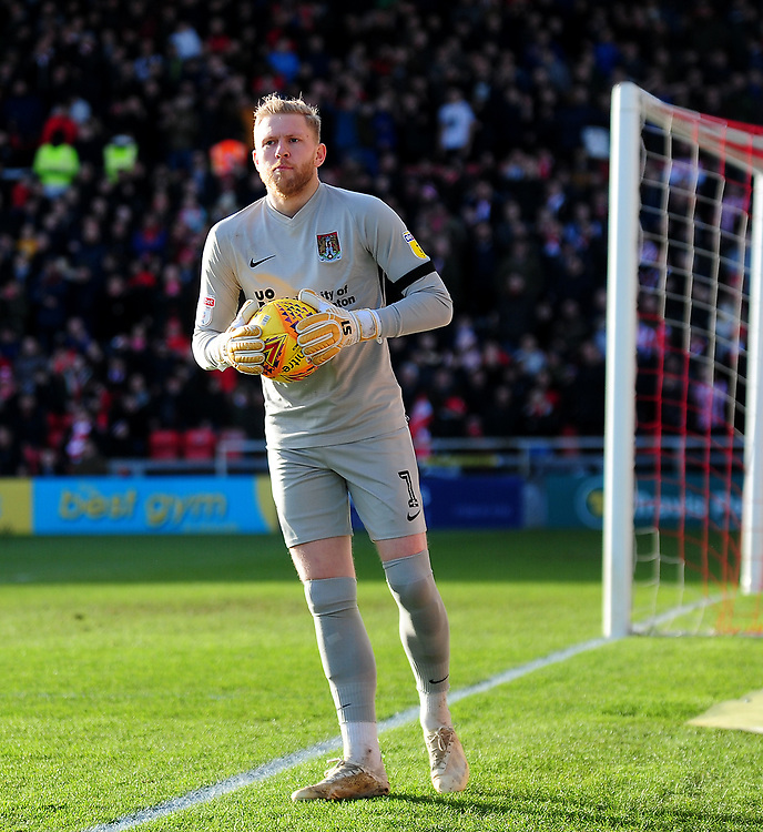 Northampton Town's David Cornell<br /> <br /> Photographer Andrew Vaughan/CameraSport<br /> <br /> The EFL Sky Bet League Two - Lincoln City v Northampton Town - Saturday 9th February 2019 - Sincil Bank - Lincoln<br /> <br /> World Copyright © 2019 CameraSport. All rights reserved. 43 Linden Ave. Countesthorpe. Leicester. England. LE8 5PG - Tel: +44 (0) 116 277 4147 - admin@camerasport.com - www.camerasport.com