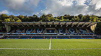 The Groundsmen get straight to work with the lawnmower at full time during the Sky Bet League 2 match between Wycombe Wanderers and Plymouth Argyle at Adams Park, High Wycombe, England on 12 September 2015. Photo by Andy Rowland.
