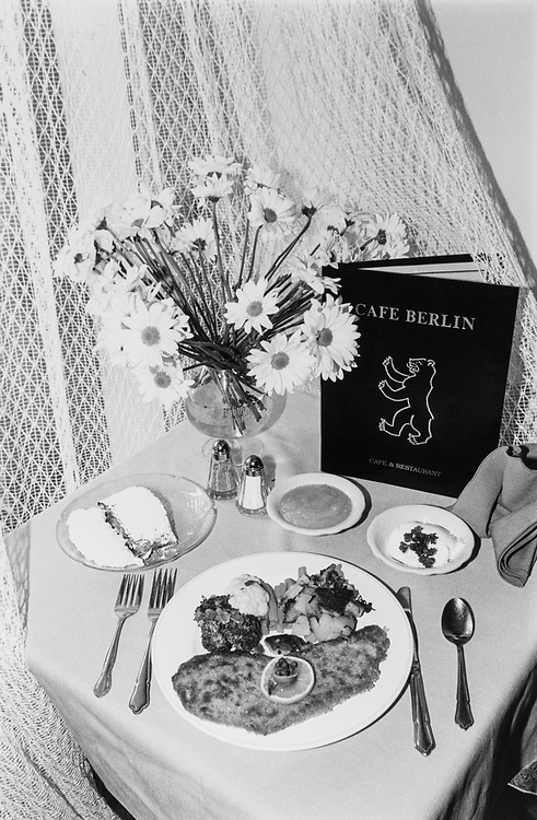 Wienerschnitzel, apple streuder, sour cream and apple sauce at Café Berlin. (Photo by Jamie Howren/CQ Roll Call via Getty Images)