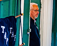 BALTIMORE, MD - MAY 12: Trainer Todd Pletcher watches as Kentucky Derby winner Always Dreaming walks in the Stakes Barn after the horse exercised in preparation for the Preakness Stakes next week at Pimlico Race Course on May 12, 2017 in Baltimore, Maryland.(Photo by Scott Serio/Eclipse Sportswire/Getty Images)