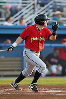State College Spikes first baseman Matt Curry (54) during a game vs. the Batavia Muckdogs at Dwyer Stadium in Batavia, New York July 17, 2010.   Batavia defeated State College 12-11 in 11 innings.  Photo By Mike Janes/Four Seam Images